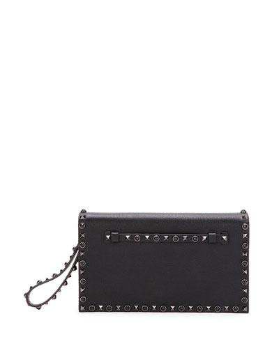 Rockstud Rolling Noir Medium  Flap Clutch Bag, Black