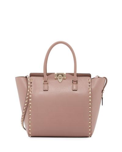 Rockstud Medium Shopper Tote Bag, Beige