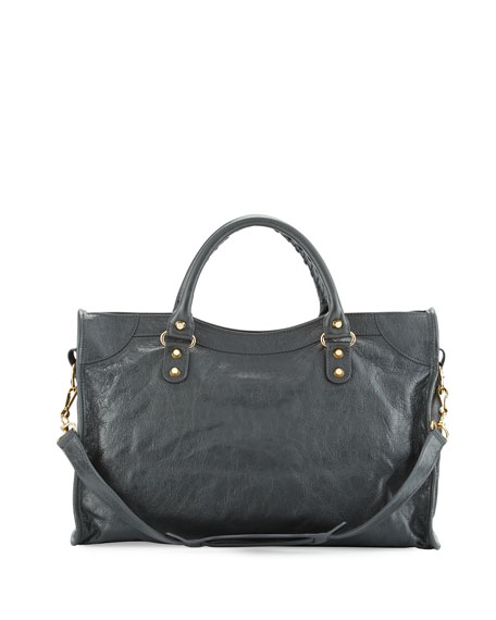 Classic Gold City Shoulder Bag, Gray (Gris Fossile)