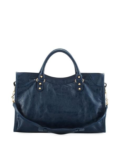 Classic Gold City Shoulder Bag, Navy (Bleu Obscur)