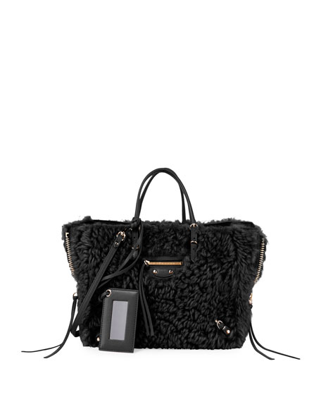 Balenciaga Papier A6 AJ Zip-Around Shearling Fur Tote