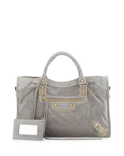 Metallic Edge Suede City Bag, Gray