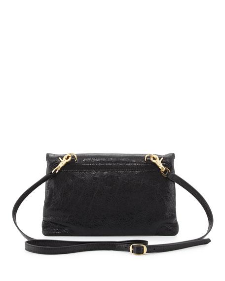 Classic Gold Mini Envelope Crossbody Bag, Black (Noir)
