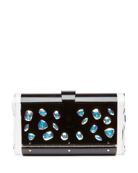Edie Parker Lara Jewelie Clutch Bag, Black Multi