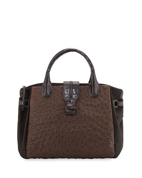 Nancy Gonzalez Cristina Large Ostrich Tote Bag, Brown