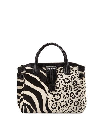 Cristina Large Calf-Hair Tote Bag, Black/White