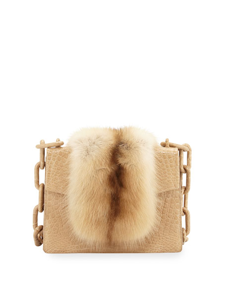 Nancy Gonzalez Sable/Crocodile Small Chain-Strap Shoulder Bag,