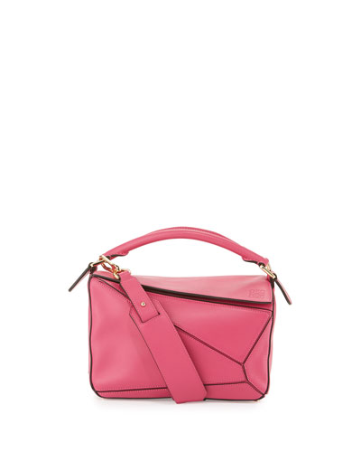 Puzzle Small Leather Satchel Bag, Pink