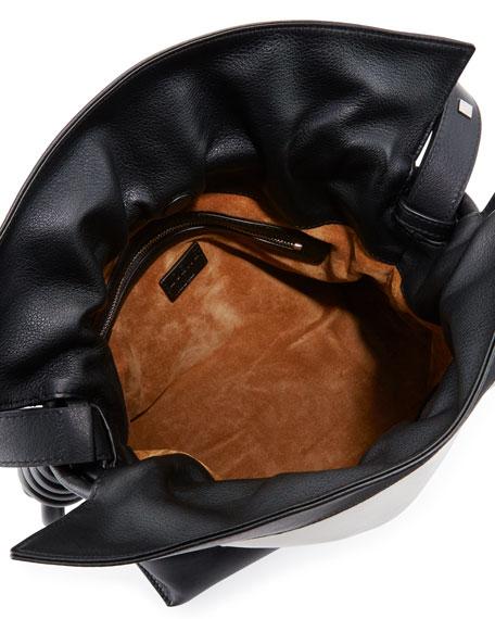 Flamenco Knot Shoulder Bag, Black/White