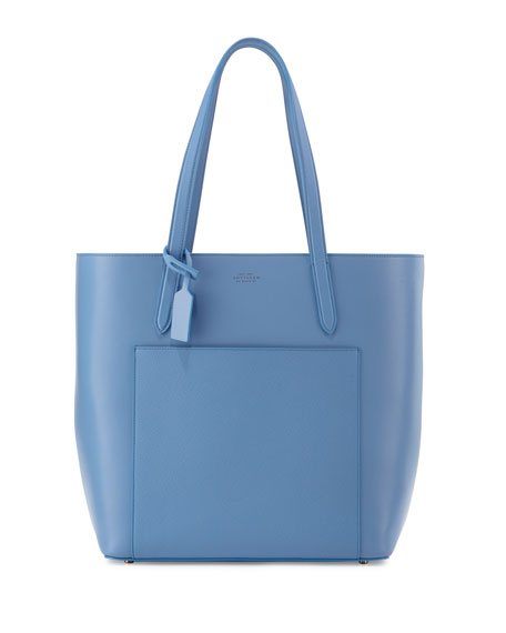 Smythson Panama North-South Zip Tote Bag, Light Blue