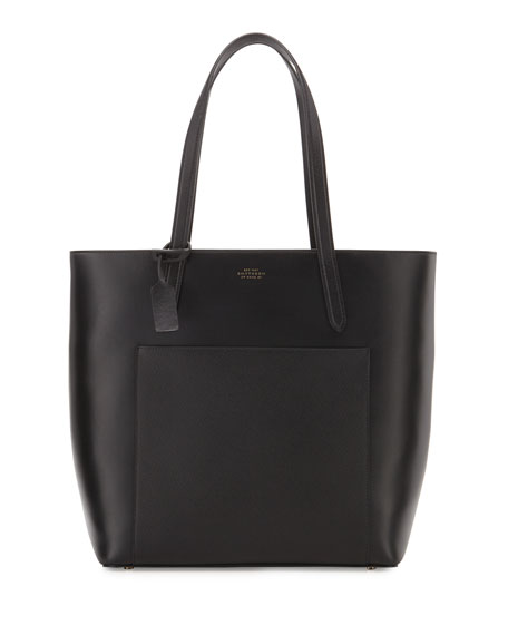 Smythson Panama North-South Zip Tote Bag, Black