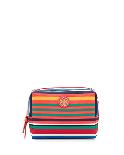 Brigitte Striped Nylon Cosmetics Bag, Multicolor
