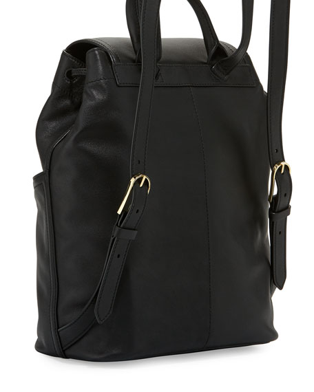 Avery Leather Backpack, Black