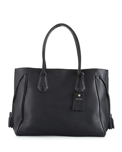 Penelope Large Leather Tote Bag, Black