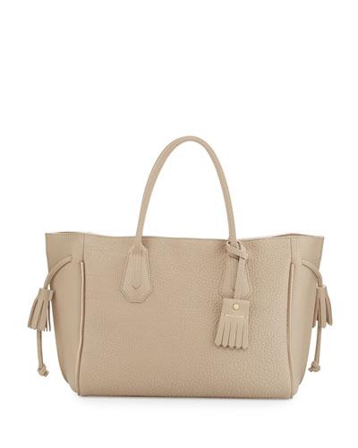 Penelope Leather Tote Bag, Greige