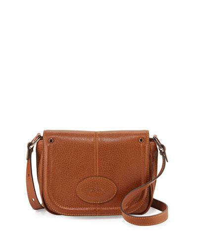 Mystery Small Leather Crossbody Bag, Cognac