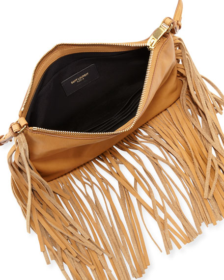 Monogram Leather Fringe-Edge Crossbody Bag, Tan