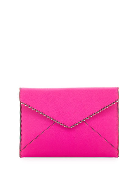 Rebecca Minkoff Leo Saffiano Envelope Clutch Bag, Flamingo