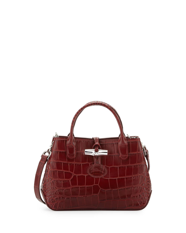 6b4e1c3236 Longchamp Roseau Crocodile-Embossed Mini Crossbody Bag
