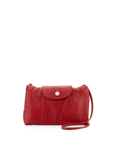 Longchamp Le Pliage Cuir Small Crossbody Bag, Cherry