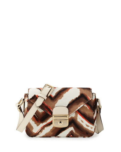 Le Pliage Heritage Luxe Small Calf-Hair Crossbody Bag, Camel