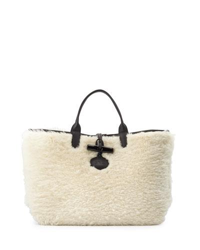 Roseau Panthere Large Reversible Tote Bag, Ecru