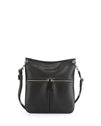 Le Foulonné Flat Crossbody Bag, Black