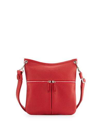 Le Foulonné Flat Crossbody Bag, Vermillion