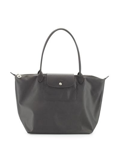 Le Pliage Neo Large Nylon Shoulder Tote Bag, Gray