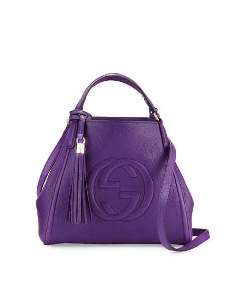 Gucci Soho Leather Shoulder Bag, Purple