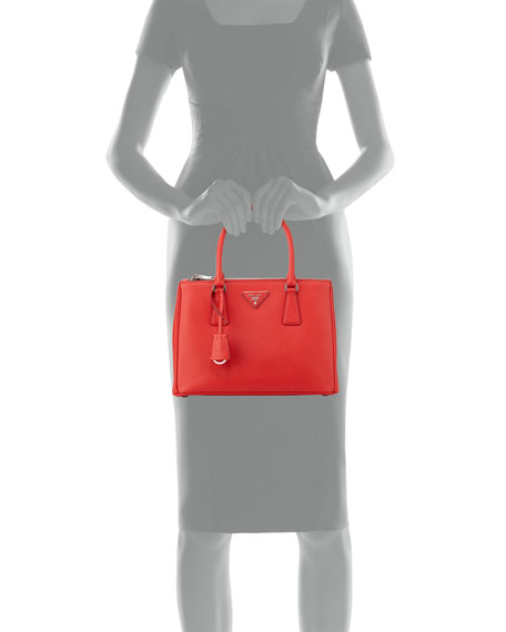 Saffiano Small Double-Zip Tote Bag, Red (Rosso)
