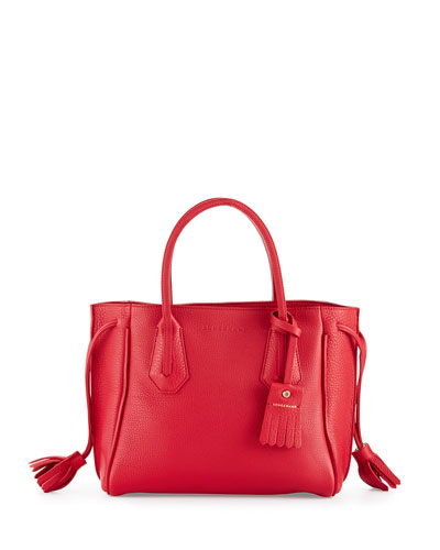 Penelope Small Leather Tote Bag, Ruby