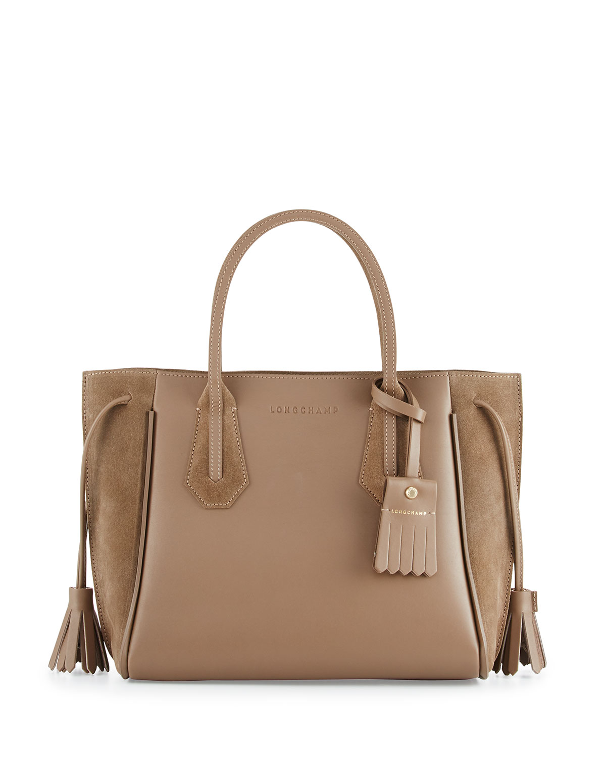 ad582991b Longchamp Penelope Small Leather & Suede Tote Bag, Taupe   Neiman Marcus