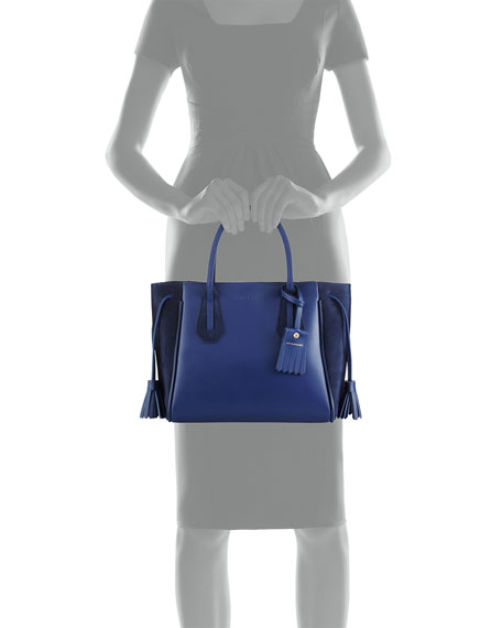 Pénélope Small Leather & Suede Tote Bag, Blue