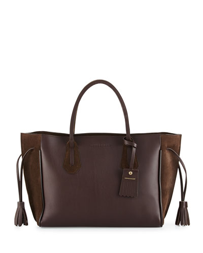 Penelope Medium Leather & Suede Tote Bag, Ebony