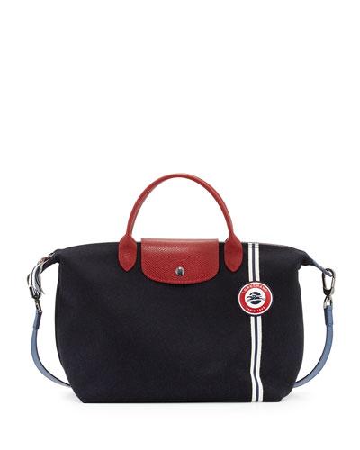 Le Pliage Cocarde Medium Handbag with Strap, Navy