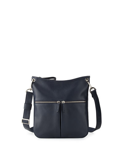 Le Foulonné Flat Crossbody Bag, Navy