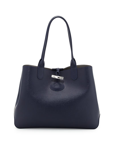 Roseau Reversible Leather Tote Bag, Navy/Silver