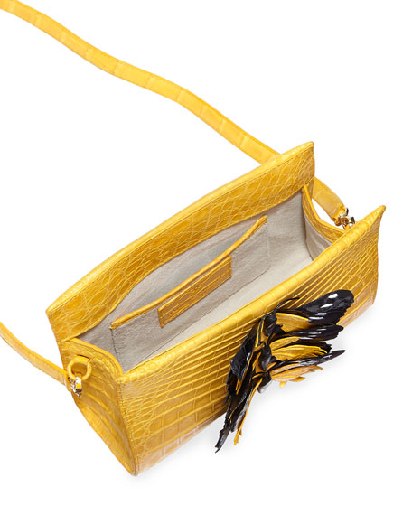 Butterfly Crocodile Small Clutch Bag, Yellow/Multi