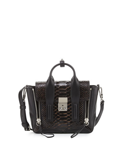 Pashli Mini Snakeskin Satchel Bag, Nude/Black