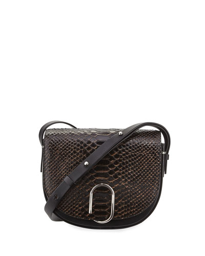 Alix Snakeskin Saddle Bag, Nude/Black