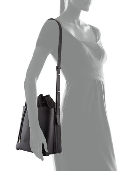 Hana Leather Drawstring Bucket Bag, Black