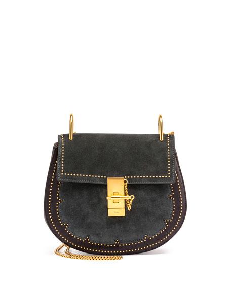 Drew Small Studded Suede Shoulder Bag, Blue