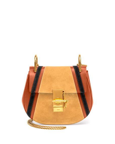 chloe fake - drew bag in multicolor suede calfskin patchwork \u0026amp; smooth calfskin