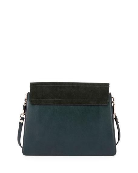 Faye Medium Flap Suede/Leather Shoulder Bag
