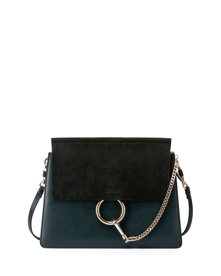 CHLOE Calfskin Medium Marcie Top Handle Bag Laguna Blue