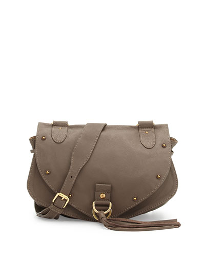 Collins Leather Tassel-Flap Crossbody Bag, Taupe