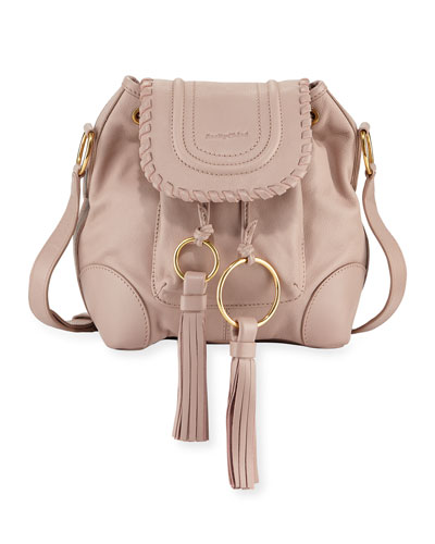 Polly Leather Flap Bucket Bag, Taupe
