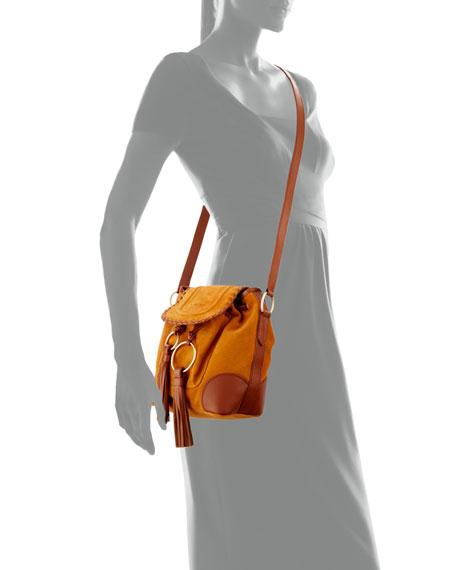 Polly Suede Flap Bucket Bag