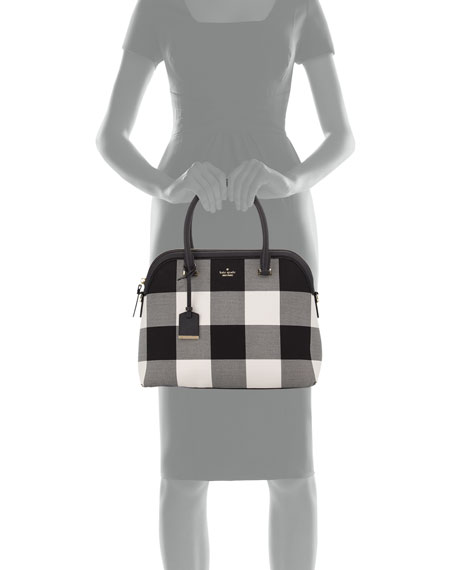 cameron street margot plaid satchel bag, light shale/multi